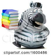 July 15th, 2018: Clipart Of A 3d Zebra Holding Books On A White Background Royalty Free Illustration by Julos