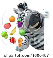 July 15th, 2018: Clipart Of A 3d Zebra Holding Produce On A White Background Royalty Free Illustration by Julos