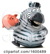 July 15th, 2018: Clipart Of A 3d Zebra Holding A Piggy Bank On A White Background Royalty Free Illustration by Julos