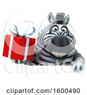 July 15th, 2018: Clipart Of A 3d Zebra Holding A Gift On A White Background Royalty Free Illustration by Julos