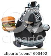 Clipart Of A 3d Business Zebra Holding A Burger On A White Background Royalty Free Illustration