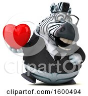Clipart Of A 3d Business Zebra Holding A Heart On A White Background Royalty Free Illustration