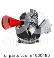 July 15th, 2018: Clipart Of A 3d Business Zebra Holding A House On A White Background Royalty Free Illustration by Julos