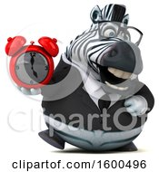 Clipart Of A 3d Business Zebra Holding An Alarm Clock On A White Background Royalty Free Illustration