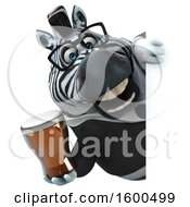Clipart Of A 3d Business Zebra Holding A Beer On A White Background Royalty Free Illustration