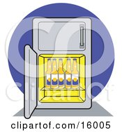 Refrigerator Stocked Full Of Beer Bottles Clipart Illustration by Andy Nortnik