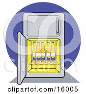 Refrigerator Stocked Full Of Beer Bottles Clipart Illustration