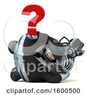 Clipart Of A 3d Business Zebra Holding A Question Mark On A White Background Royalty Free Illustration by Julos