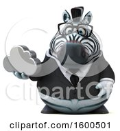 Clipart Of A 3d Business Zebra Holding A Cloud On A White Background Royalty Free Illustration by Julos