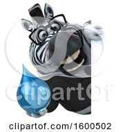 Clipart Of A 3d Business Zebra Holding A Water Drop On A White Background Royalty Free Illustration