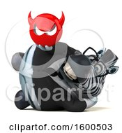 Clipart Of A 3d Business Zebra Holding A Devil On A White Background Royalty Free Illustration by Julos