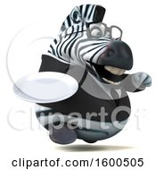 Clipart Of A 3d Business Zebra Holding A Plate On A White Background Royalty Free Illustration by Julos