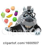 Clipart Of A 3d Business Zebra Holding Produce On A White Background Royalty Free Illustration by Julos