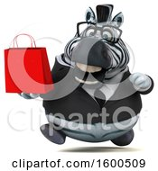 Clipart Of A 3d Business Zebra Holding A Shopping Bag On A White Background Royalty Free Illustration by Julos