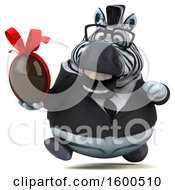 Clipart Of A 3d Business Zebra Holding A Chocolate Egg On A White Background Royalty Free Illustration by Julos