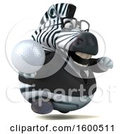 Clipart Of A 3d Business Zebra Holding A Golf Ball On A White Background Royalty Free Illustration