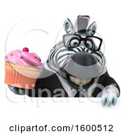 Clipart Of A 3d Business Zebra Holding A Cupcake On A White Background Royalty Free Illustration by Julos