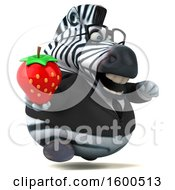 Clipart Of A 3d Business Zebra Holding A Strawberry On A White Background Royalty Free Illustration