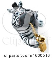 Clipart Of A 3d Zebra Playing A Saxophone On A White Background Royalty Free Illustration by Julos