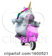 July 15th, 2018: Clipart Of A 3d Chubby Unicorn Riding A Scooter On A White Background Royalty Free Illustration by Julos
