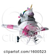 July 15th, 2018: Clipart Of A 3d Chubby Unicorn Flying A Plane On A White Background Royalty Free Illustration by Julos