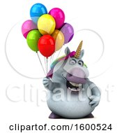July 15th, 2018: Clipart Of A 3d Chubby Unicorn Holding Balloons On A White Background Royalty Free Illustration by Julos