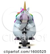July 15th, 2018: Clipart Of A 3d Chubby Unicorn Exercising On A Spin Bike On A White Background Royalty Free Illustration by Julos