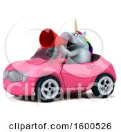 July 15th, 2018: Clipart Of A 3d Chubby Unicorn Driving A Convertible On A White Background Royalty Free Illustration by Julos