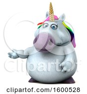 Clipart Of A 3d Chubby Unicorn Presenting On A White Background Royalty Free Illustration by Julos