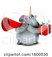July 15th, 2018: Clipart Of A 3d Chubby Unicorn Holding A Gift On A White Background Royalty Free Illustration by Julos