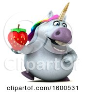 July 15th, 2018: Clipart Of A 3d Chubby Unicorn Holding A Strawberry On A White Background Royalty Free Illustration by Julos