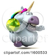 July 15th, 2018: Clipart Of A 3d Chubby Unicorn Holding A Globe On A White Background Royalty Free Illustration by Julos