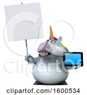 July 15th, 2018: Clipart Of A 3d Chubby Unicorn Holding A Tablet On A White Background Royalty Free Illustration by Julos