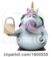 July 15th, 2018: Clipart Of A 3d Chubby Unicorn Holding A Padlock On A White Background Royalty Free Illustration by Julos