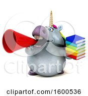 July 15th, 2018: Clipart Of A 3d Chubby Unicorn Holding Books On A White Background Royalty Free Illustration by Julos