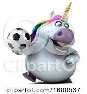 July 15th, 2018: Clipart Of A 3d Chubby Unicorn Holding A Soccer Ball On A White Background Royalty Free Illustration by Julos