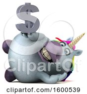 July 15th, 2018: Clipart Of A 3d Chubby Unicorn Holding A Dollar Symbol On A White Background Royalty Free Illustration by Julos