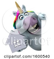 July 15th, 2018: Clipart Of A 3d Chubby Unicorn Holding A House On A White Background Royalty Free Illustration by Julos