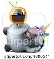 July 15th, 2018: Clipart Of A 3d Chubby Unicorn Holding A Tv On A White Background Royalty Free Illustration by Julos