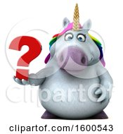 July 15th, 2018: Clipart Of A 3d Chubby Unicorn Holding A Question Mark On A White Background Royalty Free Illustration by Julos