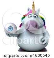 July 15th, 2018: Clipart Of A 3d Chubby Unicorn Holding An Eyeball On A White Background Royalty Free Illustration by Julos