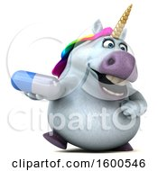 July 15th, 2018: Clipart Of A 3d Chubby Unicorn Holding A Pill On A White Background Royalty Free Illustration by Julos