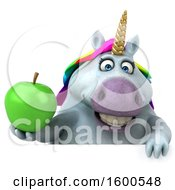 July 15th, 2018: Clipart Of A 3d Chubby Unicorn Holding An Apple On A White Background Royalty Free Illustration by Julos