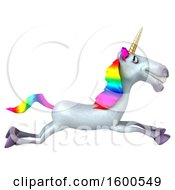 Clipart Of A 3d Unicorn Leaping On A White Background Royalty Free Illustration by Julos