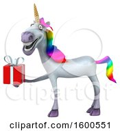 July 15th, 2018: Clipart Of A 3d Unicorn Holding A Gift On A White Background Royalty Free Illustration by Julos