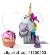 July 15th, 2018: Clipart Of A 3d Unicorn Holding A Cupcake On A White Background Royalty Free Illustration by Julos