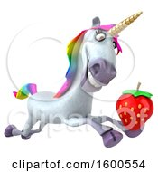 July 15th, 2018: Clipart Of A 3d Unicorn Holding A Strawberry On A White Background Royalty Free Illustration by Julos
