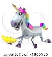 July 15th, 2018: Clipart Of A 3d Unicorn Holding A Banana On A White Background Royalty Free Illustration by Julos