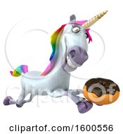 July 15th, 2018: Clipart Of A 3d Unicorn Holding A Donut On A White Background Royalty Free Illustration by Julos