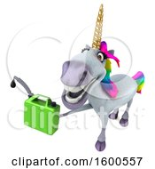 July 15th, 2018: Clipart Of A 3d Unicorn Holding A Gas Can On A White Background Royalty Free Illustration by Julos
